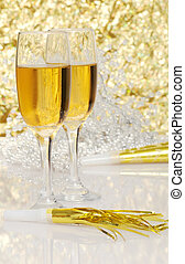 champagne with new years horn