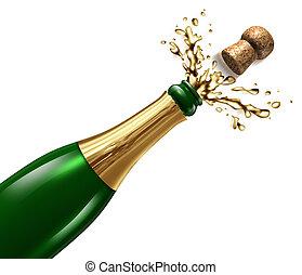 Champagne with Splash - Champagne with splash and flying...