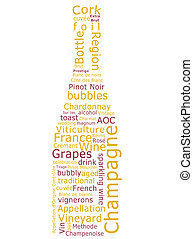 Champagne Word Cloud - Word cloud made form terms used in...