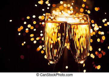 champagneexponeringsglas, mot, jul, tomtebloss, bakgrund