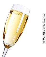 champagner, aus, weißer hintergrund