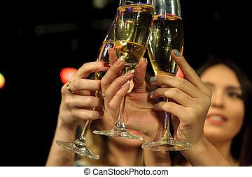 champagner, bar, leute, lose, kasino, oder, fun., haben