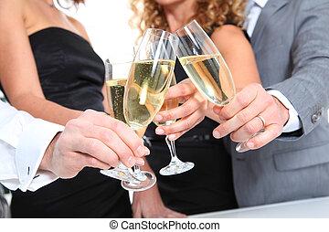 champagner, closeup, brille