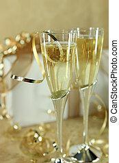 champagner, closeup, flöten