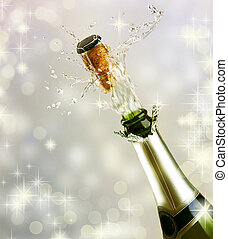 champagner, explosion., feiern, begriff