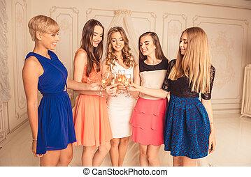 champagner, feiern, henne-beteiligtes, glückliches lächeln, mädels