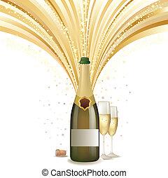 champagner, feiern, hintergrund