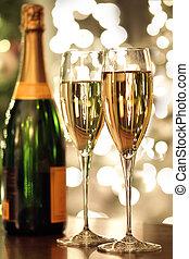champagner, Flasche, Brille
