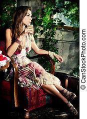 champagner, in, kleingarten
