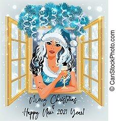 champagner, m�dchen, fenster, vektor, abbildung, santa, winter, sexy, claus