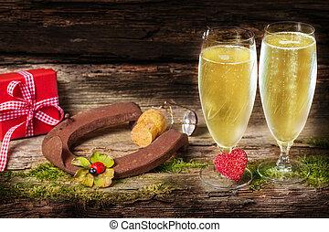 champagner, neu , charme, glücklich, jahr