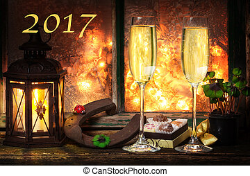champagner, silvester, frohes neues jahr, 2017