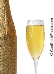 champagner, und, flasche