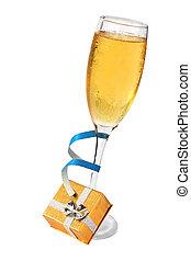 champagner, und, geschenk