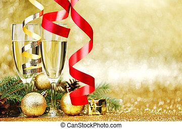 champagner, und, jahreswechsel, dekoration