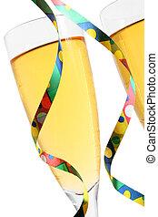 champagner, und, luftschlangen