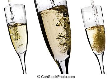champagner, wesen, gegossen