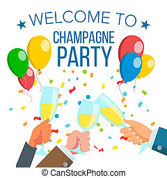 Champagnes Office Party . Champagne Bottle, Confetti Explosion. Hand With Glasses. Isolated Illustration