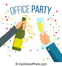 Champagnes Party . Champagne, Confetti Explosion. Hand With Glasses. Isolated Illustration
