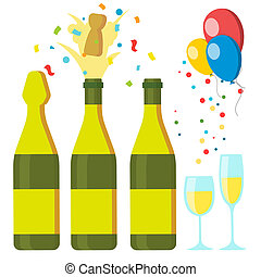 Champagnes Party . Design Elements. Champagne Bottle Explosion. Confetti. Blue Glasses. Isolated Illustration