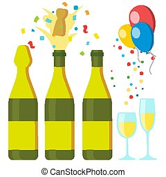 Champagnes Party Vector. Design Elements. Champagne Bottle Explosion. Confetti. Blue Glasses. Isolated Illustration