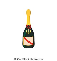 Champaign bottle cartoon icon. Winner symbol on a white ...