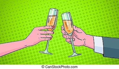 champanhe, arte, alfinete, par, cima, estouro, vidro, retro,...
