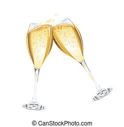 champanhe, dois, óculos