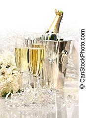 champanhe, e, um, buquê rosas