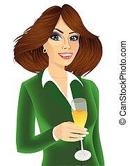 champanhe, executiva, jovem, vidro, atraente, brindar