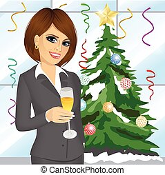 champanhe, executiva, jovem, vidro, brindar, amigável
