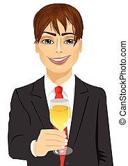 champanhe, jovem, vidro, homem negócios, brindar, bonito