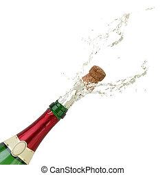 champanhe, respingue, ligado, eve ano novo, partido, ou, aniversário