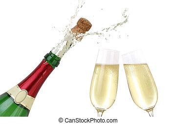 champanhe, respingue, saída, de, a, garrafa