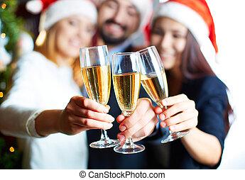 champanhe, segurando