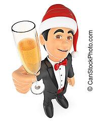 champanhe, smoking, 3d, vidro, brindar, homem