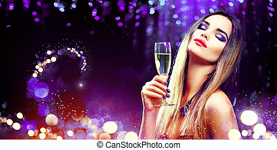 champanhe, sobre, glowing, bebendo, fundo, excitado, menina, feriado, modelo