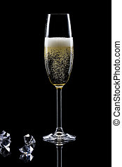 champanhe, vidro, pretas, isolado, fundo