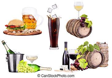 champanhe, vinho, alimento