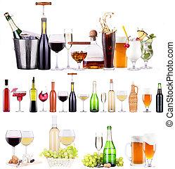 champanhe, vinho branco, vermelho