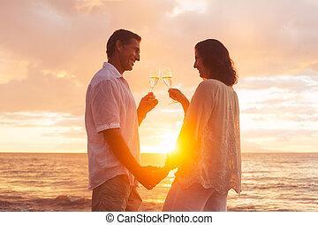 champene, 恋人, ガラス, 日没, 楽しむ, 浜