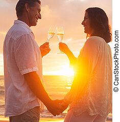 champene, coppia, vetro, tramonto, godere, spiaggia
