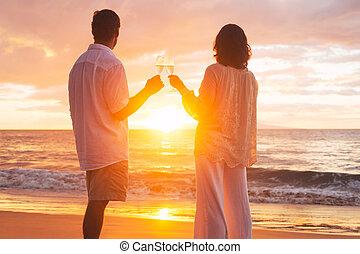 champene, párosít, pohár, napnyugta, élvez, tengerpart