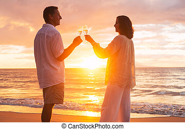 champene, pareja, vidrio, ocaso, el gozar, playa