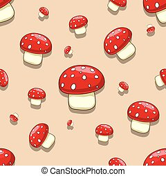 champignon, amanite, seamless, toxique