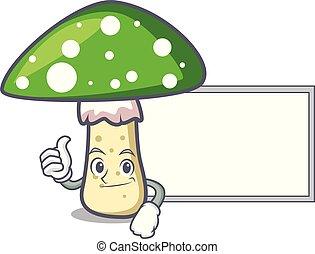 champignon, caractère, haut, amanite, vert, planche, dessin animé, pouces