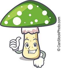 champignon, caractère, haut, amanite, vert, pouces, dessin animé