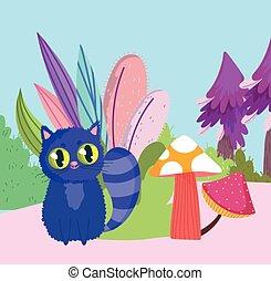 champignon, dessin animé, feuillage, buisson, pays merveilles, chat