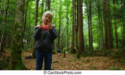 champignon, enfant, trouvé, forêt, girl