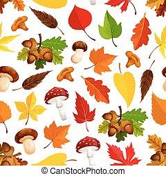 champignon, feuille, seamless, automne, modèle fond